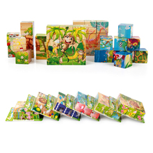 Baby Wooden Toys Cartoon Six Sides Painting Animals Building Block 3D Toys Kids Early Learning Educational