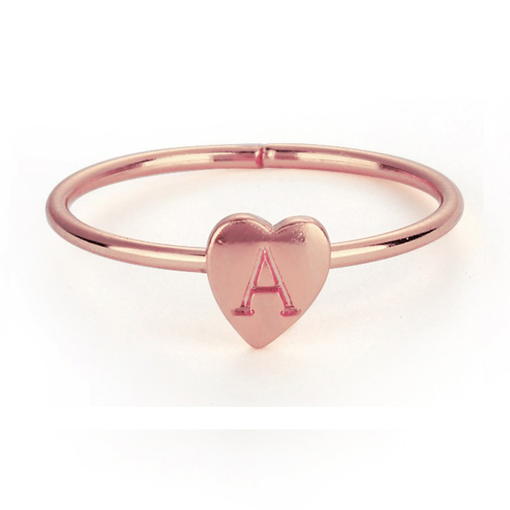 Color-Rings Jewelry Gold Silver 26-Letters Heart Statement Girl Women Wholesale for 1pc