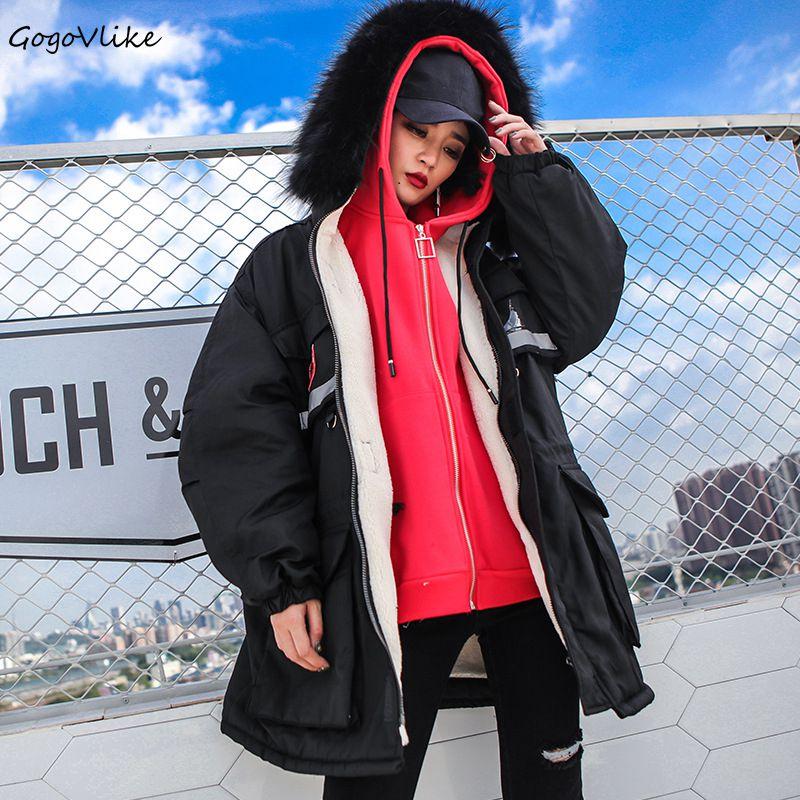 Winter Black Badge Fleece Coat with Pockets Women Warm Loose Cargo Hooded Long Cotton Padding Outwear European Style LT001S10