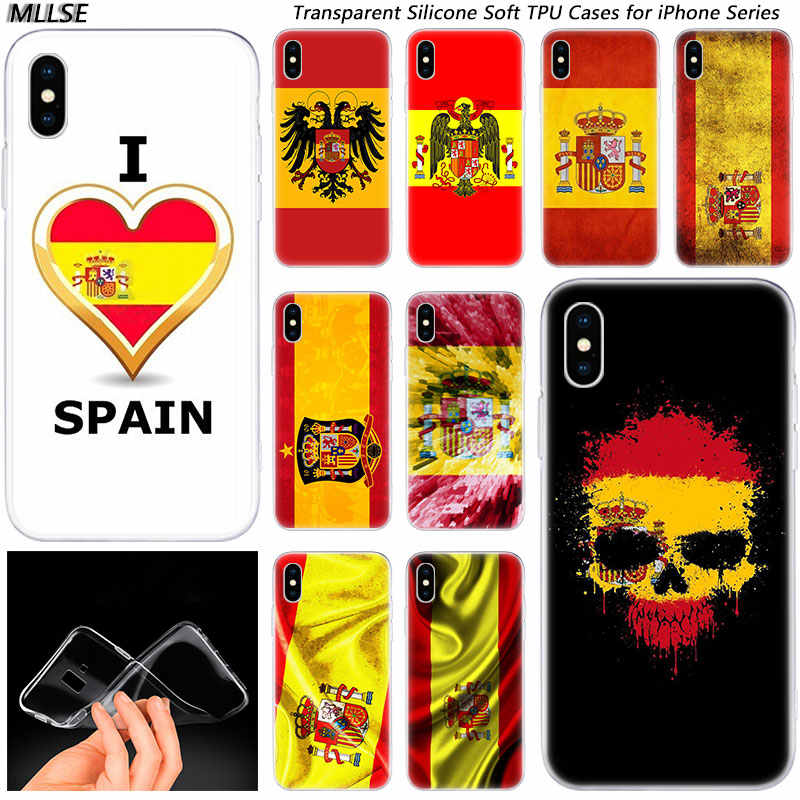 Hot Spain Spanish flag Fashion Silicone Case Cover for Apple iPhones 11 Pro XS Max X XR 7 8 6 6s Plus 5S SE TPU Soft Phone Case