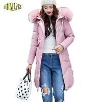 Women Winter Jacket Fashion Hooded Fur Collars Cotton Coat High Quality Solid Color Long Thicker Warm