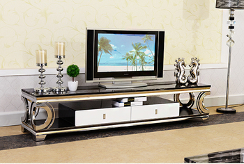 Natural marble Stainless steel TV Stand modern Living Room Home Furniture tv led monitor stand mueble tv cabinet mesa tv table led meubel painel para madeira soporte lemari meuble tele european wood table mueble monitor living room furniture tv stand