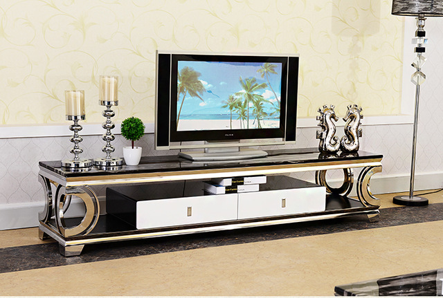 Natural Marble Stainless Steel Tv Stand Modern Living Room Home Furniture Led Monitor Mueble Cabinet Mesa Table