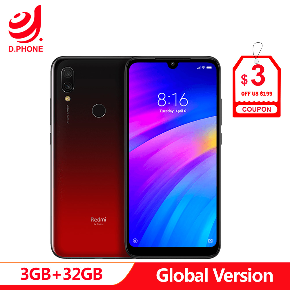 Original Global Version Xiaomi Redmi 7 3GB RAM 32GB ROM Snapdragon 632 Octa Core 12MP 6.26 Full Screen 4000mAh Smartphone