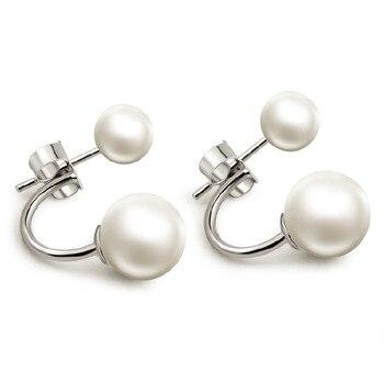 4155c987fdc2 Aretes de Mujer Pendientes de Plata 925 de Plata de perlas de doble cara  damas dos Pendientes bola SE007