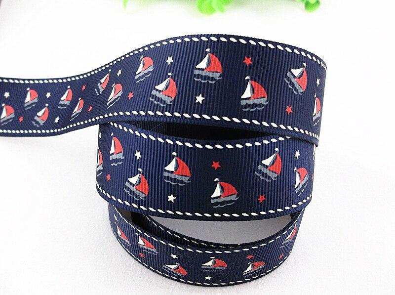 5 yards  7//8/'/' Navy Princess Anchor Nautical Printed Grosgrain Ribbon