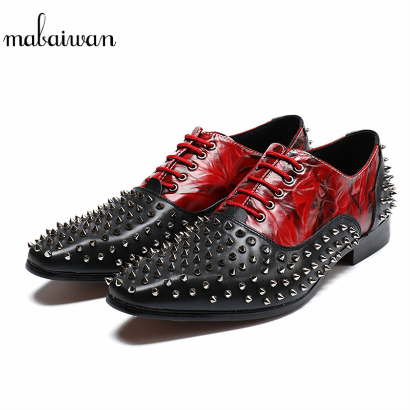 Mabaiwan 2018 New Red Autumn Rivtes Leather Men Shoes Mens Formal Business Wedding Dress Shoes Men Flat Lace Up Designer Oxfords top fashion shoes men mens canvas shoe chaussure homme leather business breathable spring autumn solid medium b m flat lace up