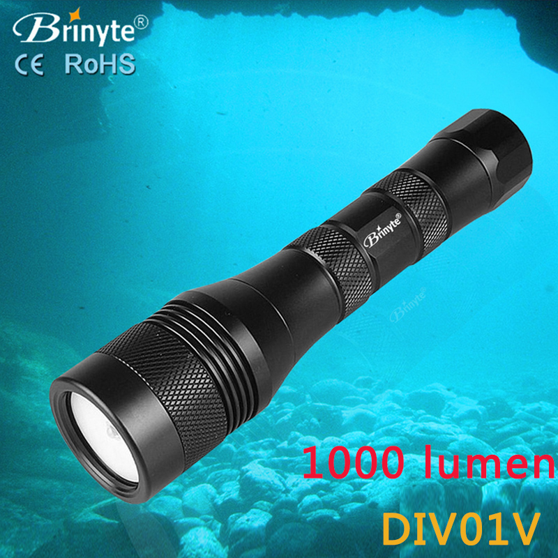 ФОТО IP88 Waterproof Brinyte DIV01V Handheld Diving Flashlight Torch XM-L2(U4) LED 1050LM Underwater 150m without Battery and Charger