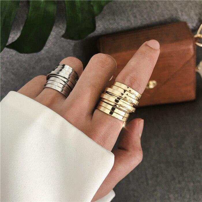 2019 New Minimalist Retro Temperament Multi-layer Wide Version Ring Female Wide Version Simple Wild Ring For Women Girls