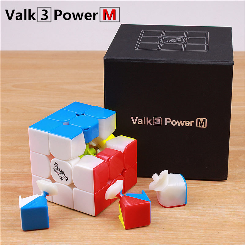Купить с кэшбэком Qiyi the valk3 power m speed valk3 cube 3x3x3 magnetic stickerless professional cubes toys for kids valk 3 m puzzle cube magnet
