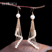 925 Sterling Silver 14K Roll Gold Long Chain Tassels Baroque Pearl Drop Earrings for Women Craft Bohemia Dangle Earring Trendy
