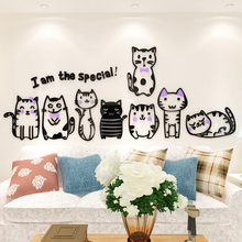 Creative INS cartoon cat  DIY Children's room bedroom home living room TV background wall decoration 3D acrylic wall sticker creative ins cartoon car diy children s room bedroom home living room tv background wall decoration 3d acrylic wall stickers