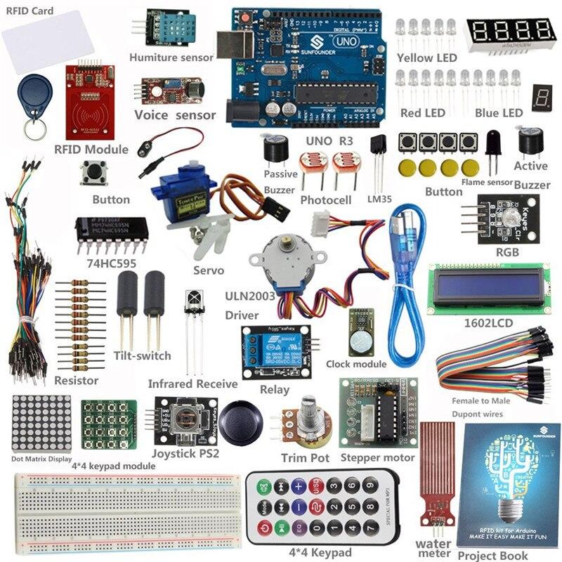 Kit d'apprentissage de démarrage RFID sunfondateur + 30 projets + carte UNO R3 pour débutant Arduino