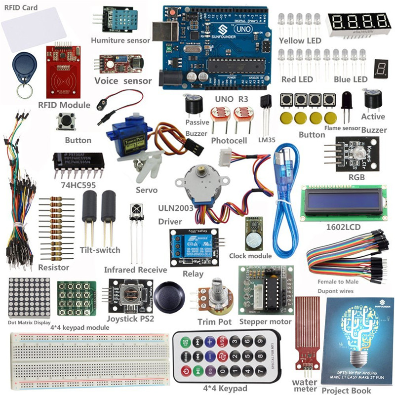 SunFounder RFID Starter Learning Kit + 30 Projects + UNO R3 Board for  Arduino Beginner
