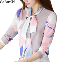 Fashion Spring Autumn Print Bow Collar Women S Long Sleeve Office Lady Tops Elegant Chiffon Blusas