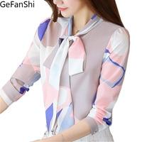 Fashion Spring Autumn Print Bow Collar Women S Long Sleeve Office Lady Tops Elegant Chiffon Blusas
