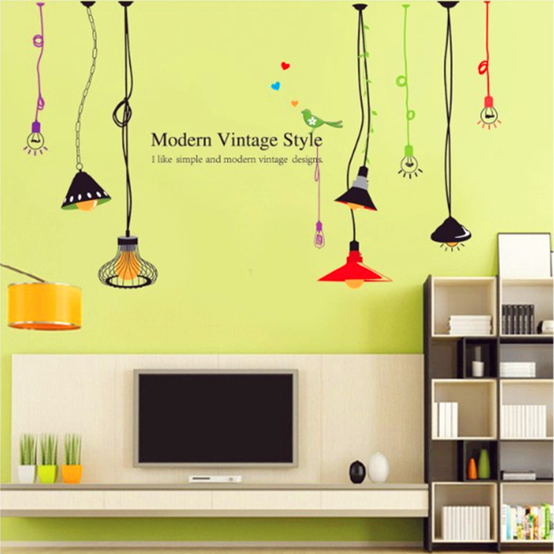 Colorful Ceiling Lamps Wall Decal Home Sticker Paper Art Picture DIY ...
