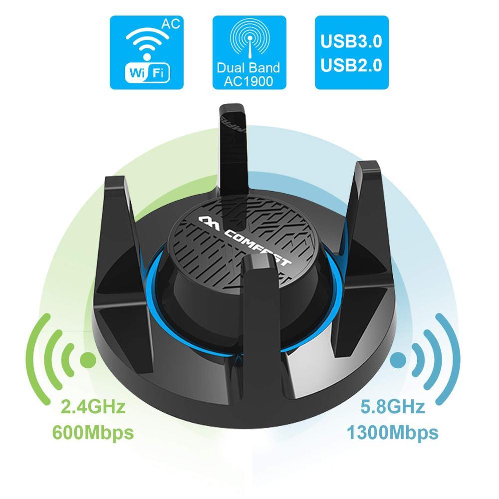 COMFAST 1900 Mbps Gigabit haut Gain USB3.0 sans fil WiFi adaptateur réseau de jeu double bande AC1900 2.4/5 GHz Wi-Fi pour Windows Mac