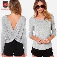 Women Long Sleeve O Neck Patchwork T Shirts Creative Design Autumn Sexy Crochet Shirts Lady Tops