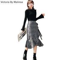 2017 Fashion Autumn Women Sets OL Long Sleeve Office Lady Turn Down Black Blouse Top Shirt
