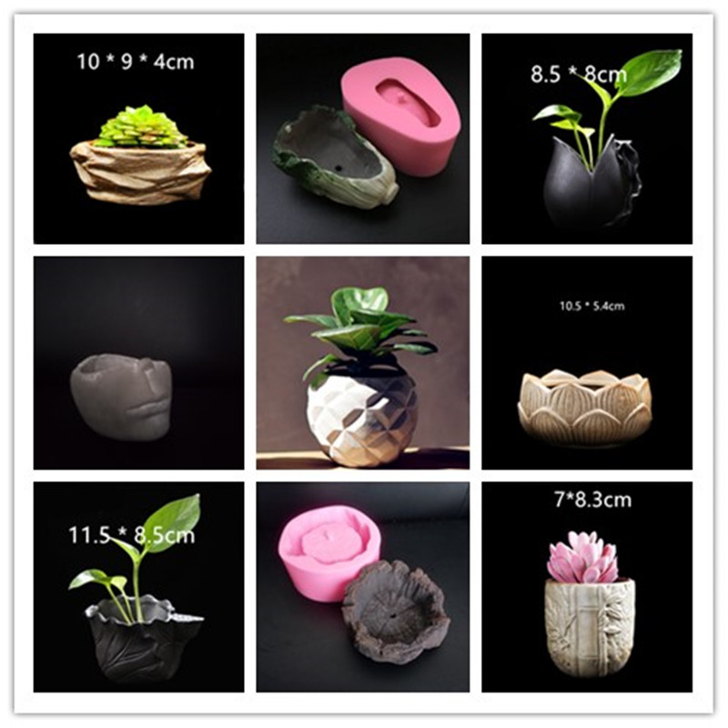 3D Clay Planter Silicone Pot Mold Concrete Desktop Flowerpot Molds For Cement Handmade Vase Mould