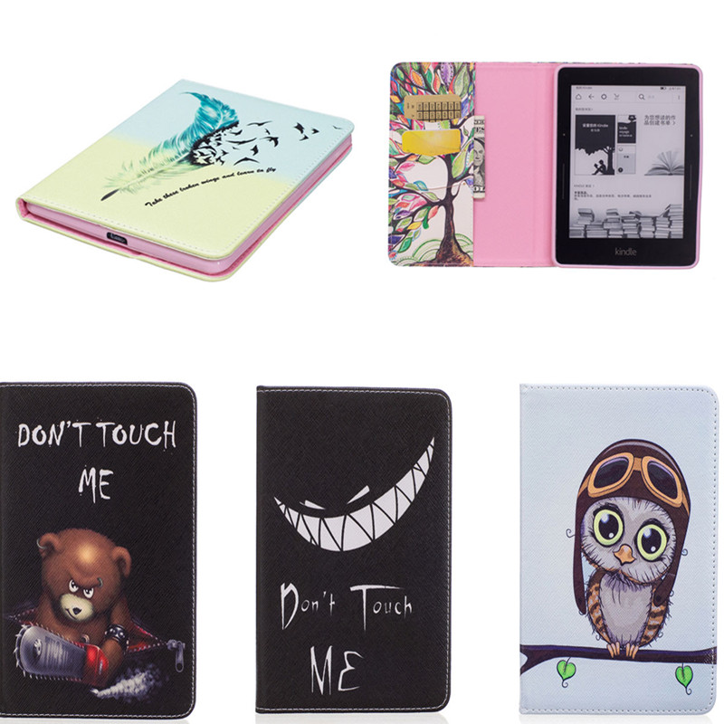 Colorful Print PU Leather With Soft TPU Back Cover Cute Book Protective Case For Amazon Kindle Voyage 6 inch Ereader Ebook cartoon painted flower owl for kindle paperwhite 1 2 3 case flip bracket stand pu cover for amazon kindle paperwhite 1 2 3 case