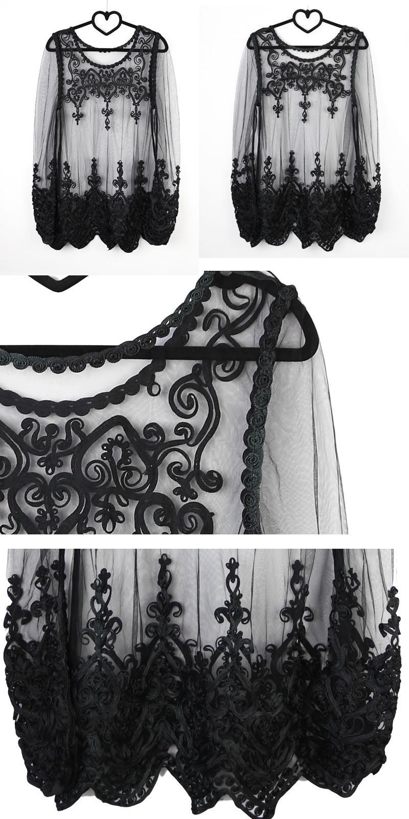 Must või valge läbipaistvast võrgust pluus