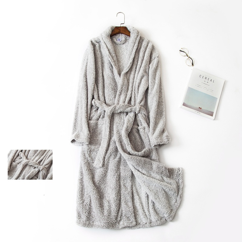 Plus size Gray Coral fleece Mens bathrobes soft polyester long sleeve casual sexy winter lovers robes Couples bathrobes
