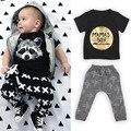 Baby boy фокс одежда 2016 Лето Хлопок Футболки + Брюки 2 Шт. Наборы Для Малышей Baby girl одежда Наряды Новорожденных одежда Наборы