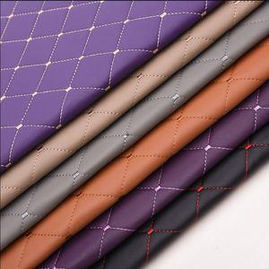 Image 1 - 138*100cm furniture PU leather perforated embroidered plaid fabric car interior roof fabric plaid car seat cushion fabric 0.3cm