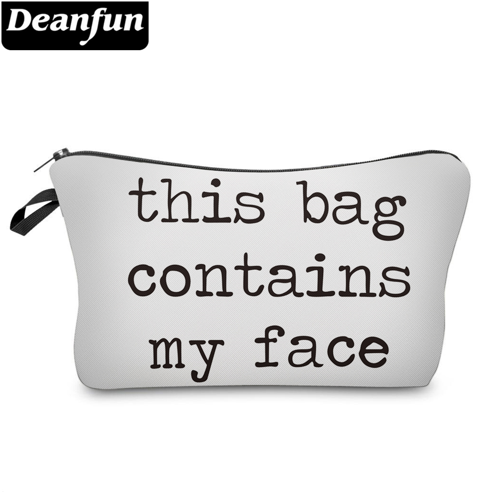 Deanfun White Cosmetic Bags 3D Printed Letter Fashion Style For Women Makeup Organizer 51297 #