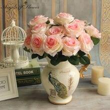 Ucuz 7/9/10 kafa bir paket yapay gül buketi ipek dekoratif çiçek düğün parti yılbaşı dekoru çiçek duvar malzemeleri