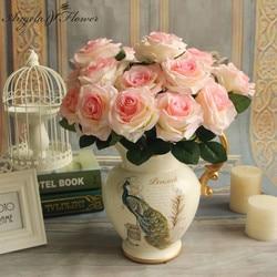 Cheap 7/9/10 heads one bundle artificial rose bouquet silk decorative flower wedding party Christmas decor flower wall materials