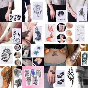 Временная татуировка в виде лисы, кота, совы, волка, на теле для женщин, мужчин, Льва, лошади, цветка, искусственная татуировка, водостойкая на...