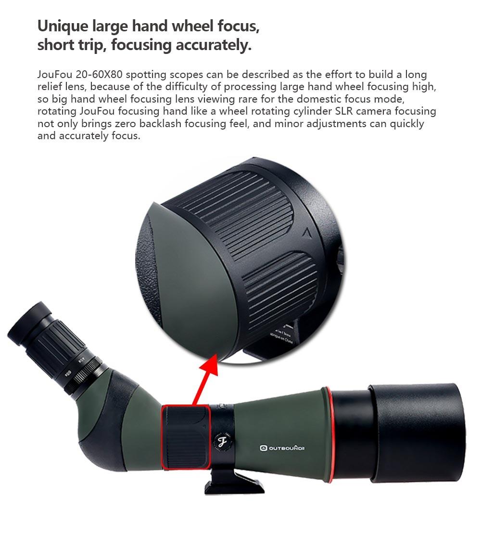 JouFou 20-60X80 HD Spotting Scope Waterproof Zoom Target Shooting Optical Glass High Power with Tripod Birdwatching (6)