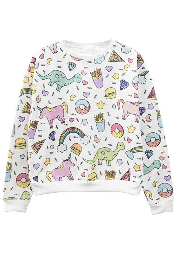 "HTB16V0rQXXXXXapaFXXq6xXFXXXZ - dinosaur and unicorns with rainbow all over printed jumper ladies girls top Unicorn  90""s clothing Unisex fashion sweatshirt PTC 287"