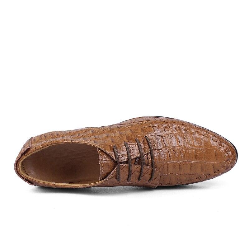 Casual Crocodile 38 Black brown Chaussures Grande Véritable blue Taille burgundy Main Cuir Motif Robe La En De 50 D'affaires À Hommes Luxe p8xwS