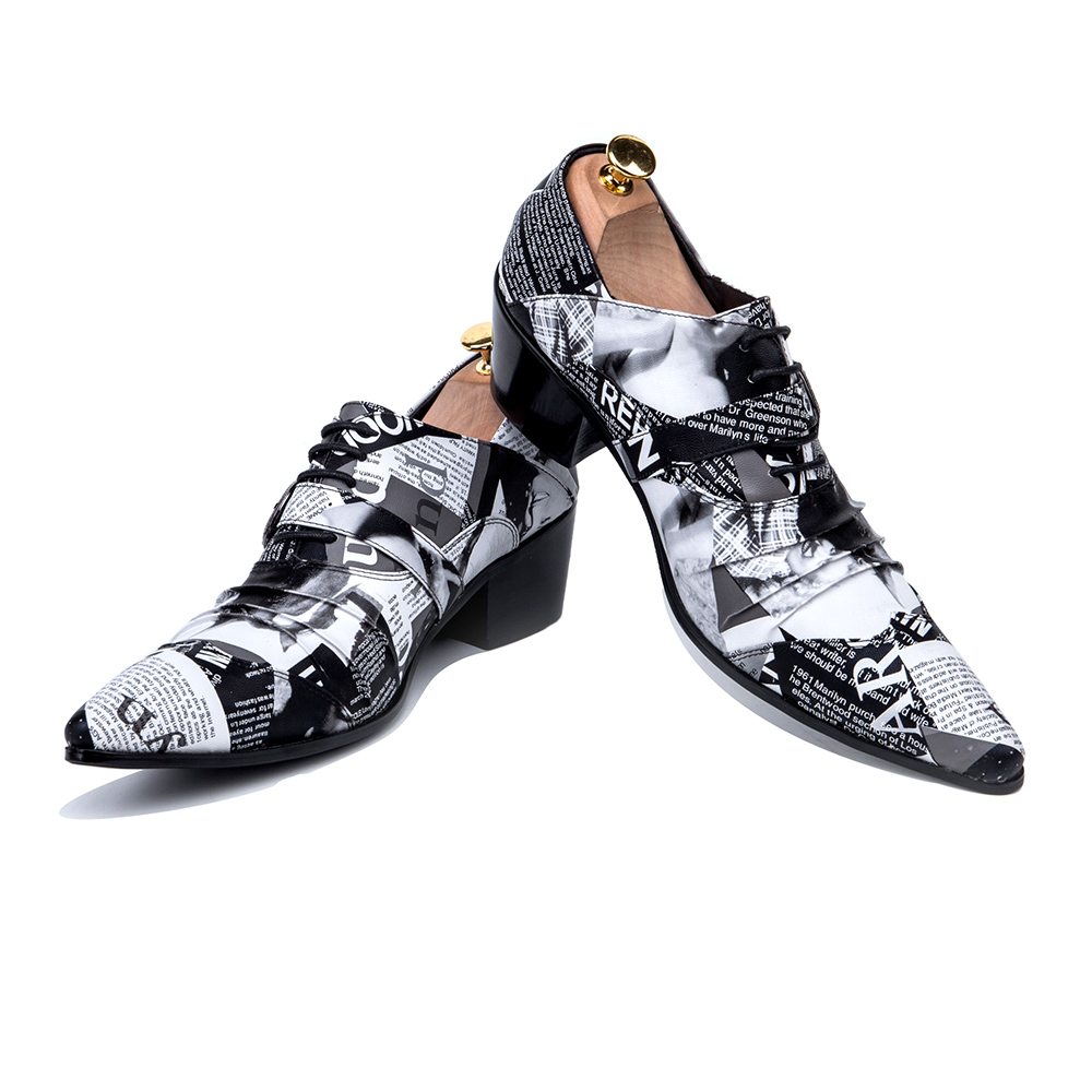 Christia Bella Fashion Newspaper Print Men Oxford Shoes Buckle Pointed Toe  Men Brogue Shoes Wedding Dress Shoes Big Size-in Formal Shoes from Shoes on  ... 8acb798afa52