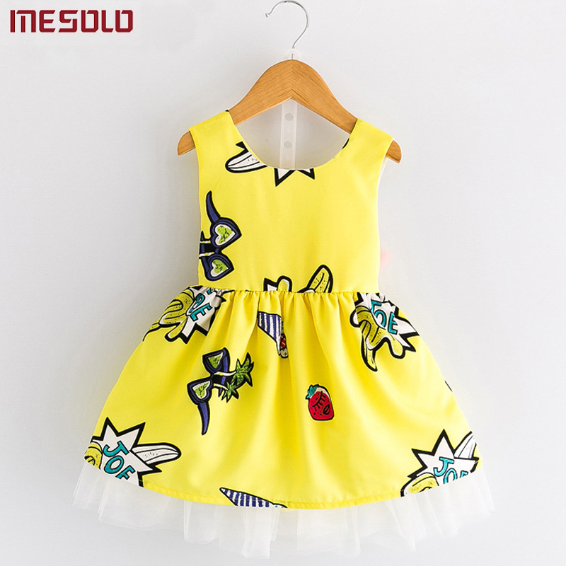 Girls Clothing Dresses 2017 Summer New Girl Sweet Cute Cartoon Graffiti Halter Sleeveless Dress