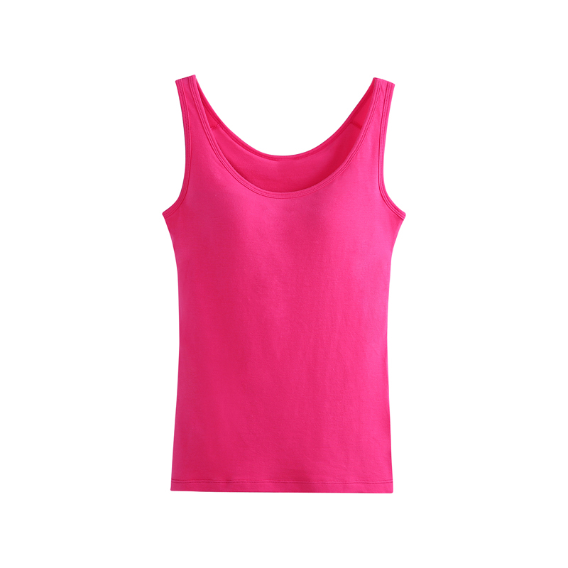 2c8a813c6 Women Built In Padded Bra Tank Top Breathable Cotton Camisole Solid Casual  Basic Shirt Women Tops Bra Vest Summer Underwear-in Tank Tops from Women s  ...