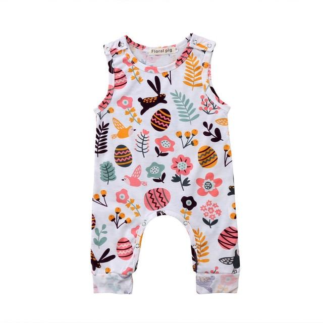 Pudcoco Baby Boys Girls Fashion Romper Sleeveless Easter Egg Pattern Print For 0