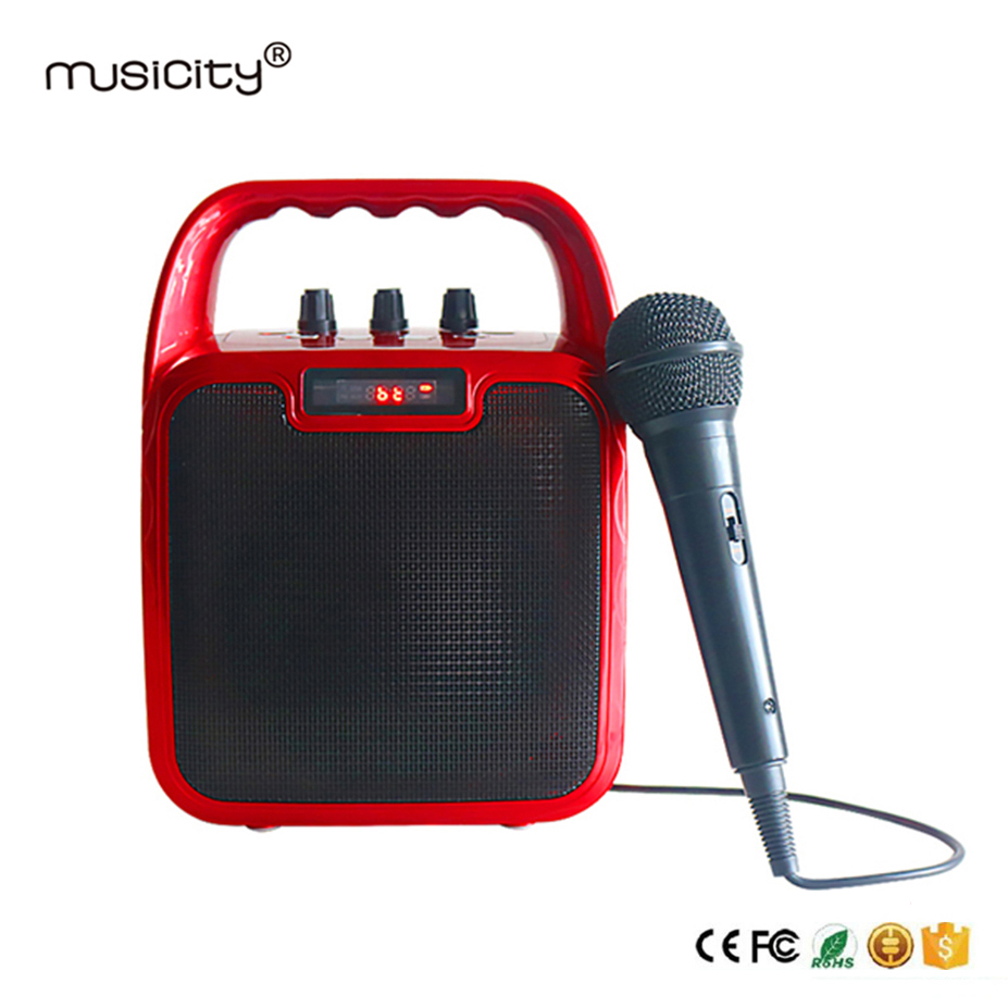 Outdoor Wireless Boombox Karaoke PA Portable Bluetooth Speaker with MIC Sound Box Amplifier Subwoofer Stereo Music FM Radio 10W exrizu ms 136bt portable wireless bluetooth speakers 15w outdoor led light speaker subwoofer super bass music boombox tf radio