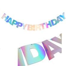Iridescent Foil Happy Birthday Party Banner Alphabet Bunting Garland Kids Supplies Unicorn
