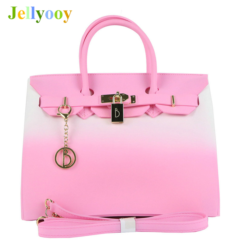 3 Colors Luxury Handbags Women Bag Designer Female Summer Waterproof PVC Beach Bags Jelly Bag Tote Locks Shoulder Bags Two Size jinqiaoer nylon summer beach bag designer handbags high quality women tote bag waterproof shoulder bags with coin purse