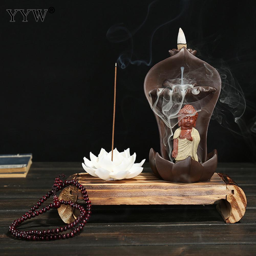 Lotus Backflow brûleur d'encens porte-bâton en céramique petit bouddha cascade encensoir inséré bâton brûleur décor à la maison avec 10 cônes