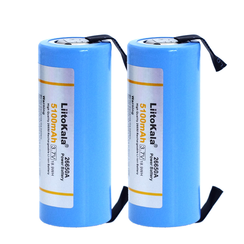 2018 Liitokala 26650 rechargeable battery, <font><b>26650A</b></font> lithium battery, 3.7V 5100mA 26650-50A blue. Suitable for flashlight+Nickel image