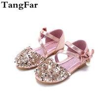 Детские сандалии; кожаная детская обувь с бусинами и бантом; летние сандалии принцессы для девочек; модные сандалии на плоской подошве с блестками для малышей