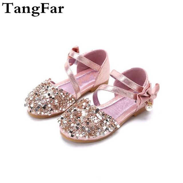 Kids Sandals Leather Beading Bowtie Children Shoes Summer Princess Girls  Sandals Sequins Fashion Toddler Flat Heel e6d195784f87