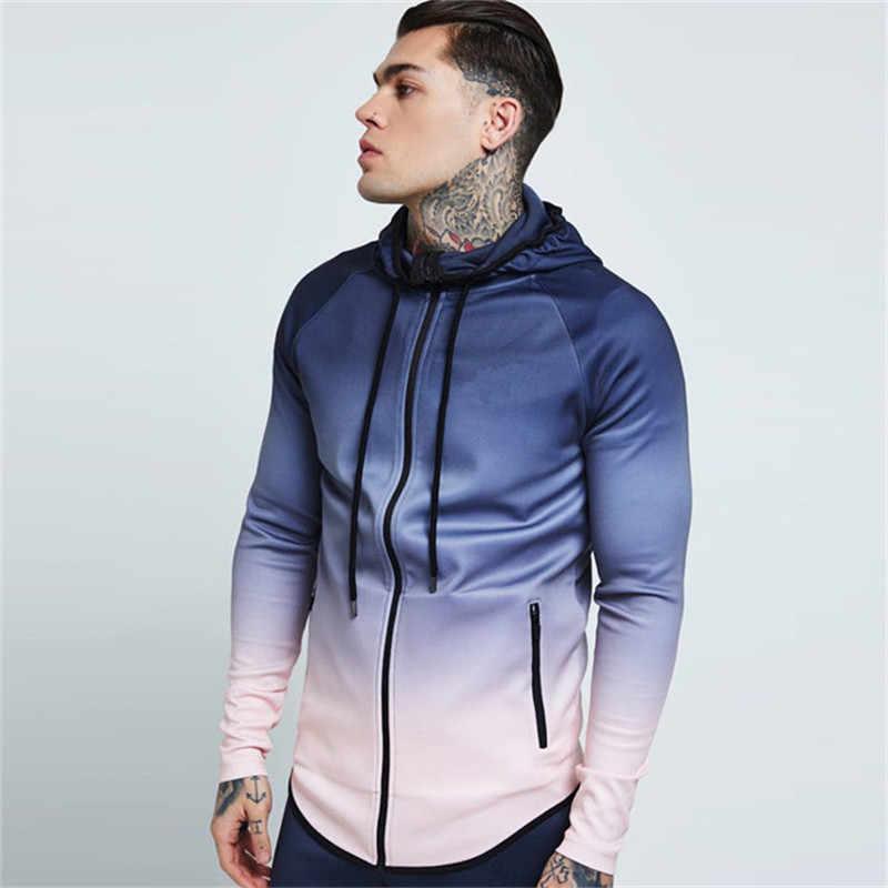 GYMLOCKER 秋冬新メンズフード付き長袖シャツファッショングラデーションカラースリムジッパースウェットシャツ紳士服