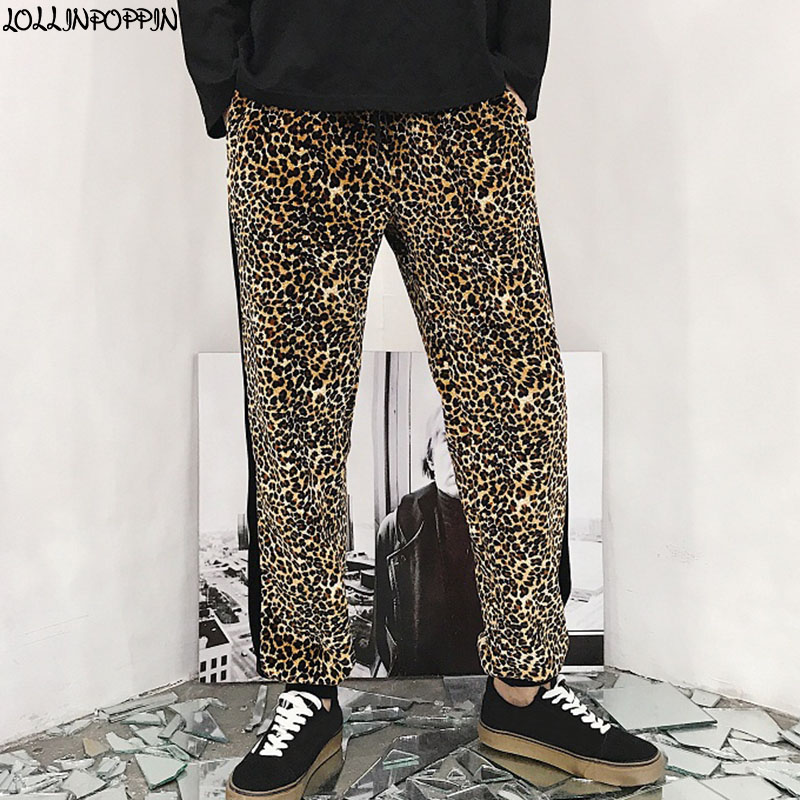 Men Leopard Print Casual Jogger Pants Elastic Waist High Street Hip Hop Mens Side Stripe Ankle Length Joggers